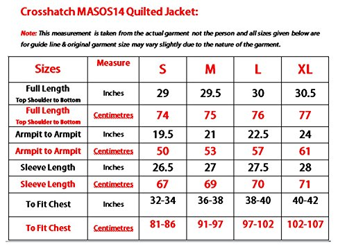 Men Crosshatch Designer Quilted Light Padded Lined Collar Jacket Winter Coat Midnight
