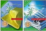 Elimann Bambus Hochglanz Reinigungstuch ANTIBAKTERIELL für STREIFENFREIEN und Fusselfreien Glanz, FETT Plus Spüllappen Wischtuch Spültuch Vorreinigungs-Tuch, 2er Set