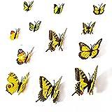 Lumanuby 12 Stück 3D Schmetterlinge Wandtattoos Wandsticker Mit Magnet Wand Dekoration für Zuhause Hochzeit Und Kindergarten Decor,Gelb