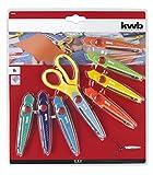 kwb Bastelscheren-Set für Kinder 020895 (9-teilig, 8 Bunte Scherenaufsätze, 165 mm)