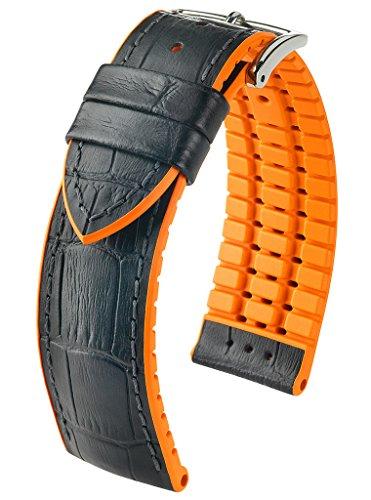 HIRSCH Herren Performance Uhrenarmband Modell Andy , Schwarz/Orange , 22 mm