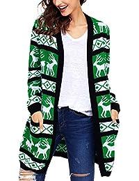 Aleumdr Mujer Cárdigans de Navidad Chaqueta de Punto de Estampado Jersey de Punto  Cuello V Size 14d042355411