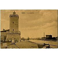 1911 Rimini - La Lanterna col Faro, veduta generale - FP B/N VG Cartolina Postale - Faro Storico Collezione
