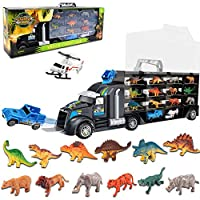 Acelane Dinosaur Transport Carrier Truck Toys Set Include 12 Animals, 1 Car & 1 Airplane - Monster Toys Playset for 3-12 Years Old Boys Girls