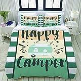 SnowXXL Set Biancheria da Letto,Set Copripiumino in Microfibra con Federa,Happy Camper Camping Outdoor,1 Copripiumino220 x 240cm + 2 federe 50 x 80 cm