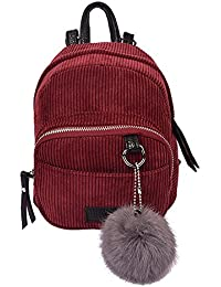 Rrimin Mini Backpack School Bag With Plush Toy Corduroy Material Bag For Women Girls