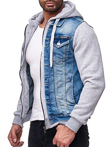 Red Bridge Herren Jeans Jacke Sweatjacke Übergangsjacke Premium RB Denim Blau - Grau XL