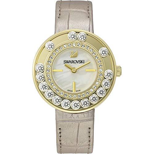 Orologio donna quarzo swarovski display analogico cinturino pelle oro e quadrante bianco 5027203