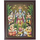 Lord Satyanarayana Photo Frame ( 32.5 Cm X 26.5 Cm X 1.5 Cm, Brown ) / Wall Hangings For Home Decor And Wall Decor / Photo Frames For Posters And Thanksgiving Wall Decorations / Satyanarayan Satyanarayana Vishnu Sathya Narayana Sathyanarayana Art Work For