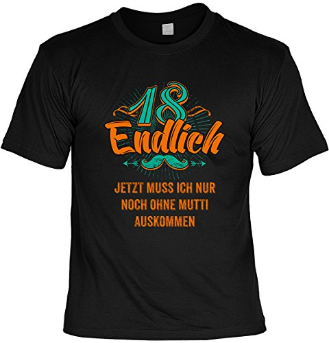 Lustiges Geburtstagsgeschenk Leiberl für Männer T-Shirt mit Urkunde 18 Endlich Jetzt muss ich nur noch ohne Mutti auskommen Leibal zum Geburtstag Schwarz