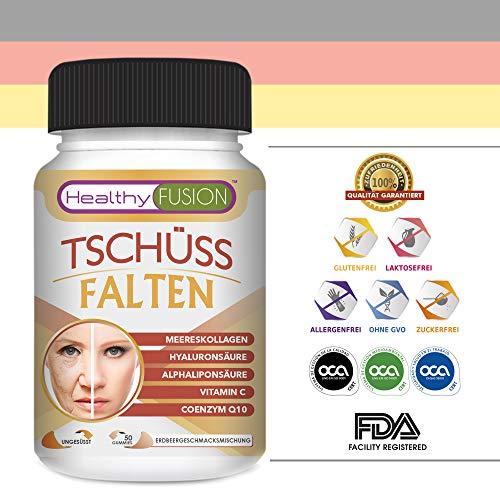 TSCHÜSS FALTEN – Starke Antifaltenbehandlung – Gesunde und mit Feuchtigkeit versorgte Haut – Schützt die Gesundheit der Muskeln und Artikulationen – Hydrolisiertes Kollagen + Hyaluronsäure – 50 E.