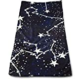 Uosliks Glow in The Dark Constellations Midnight Fabric Bath Towels for Bathroom-Hotel-Spa-Kitchen-Set - Circlet Egyptian Cotton - Highly Absorbent Hotel Quality Towels...