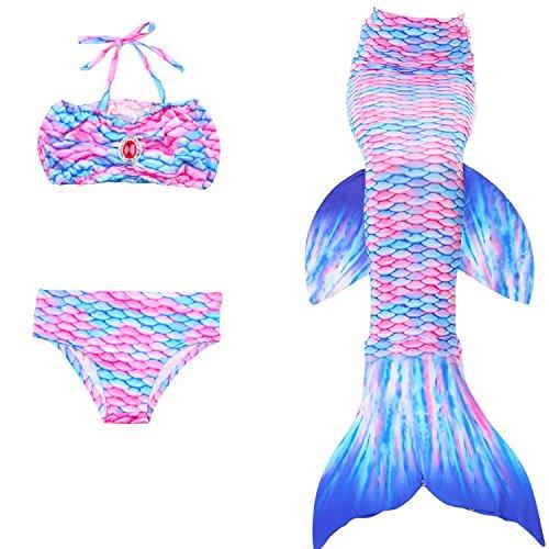 Le SSara Mädchen Hai Cosplay Kostüm Bademode Meerjungfrau Shell Badeanzug Sets (130, K-JP102)