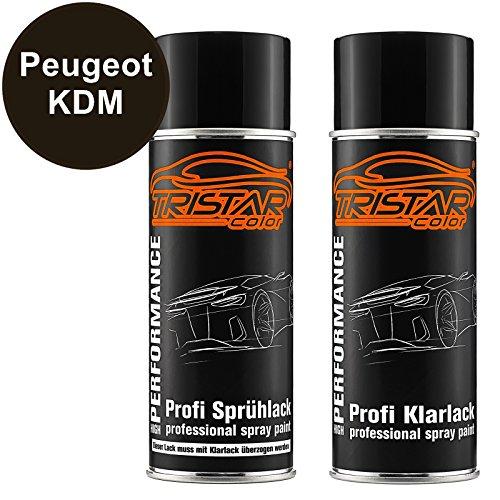 Preisvergleich Produktbild Autolack Spraydosen Set Peugeot KDM Brun Guaranja Nacre Basislack Klarlack Sprühdose 400ml