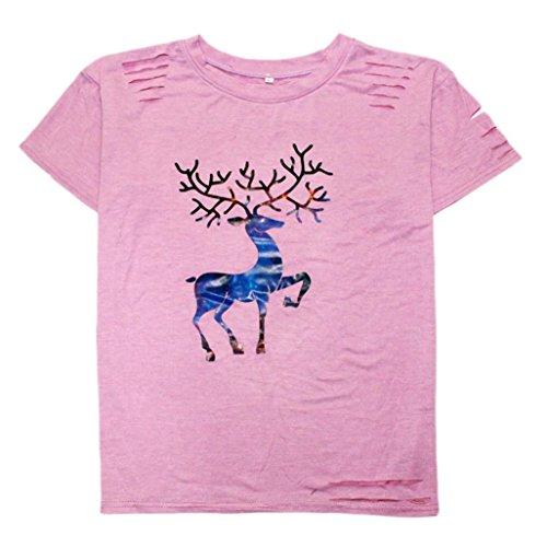 Camicetta Estate Donna Vovotrade T-shirt manica corta con stampa casual Rosa Rosa