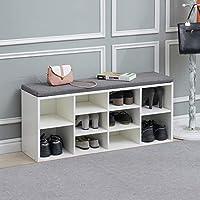 TUKAILAI Shoe bench Storage Cabinet Rack Hallway Cupboard Organizer with Seat Cushion Shoe Cabinet Bench Shelf Storage Unit with Padded Seat Entryway Hallway