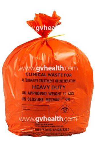 GV Health Abfalltüten für medizinische Abfälle, Stärkegrad Medium Duty, groß, Orange, 8Rollen à 25Stück