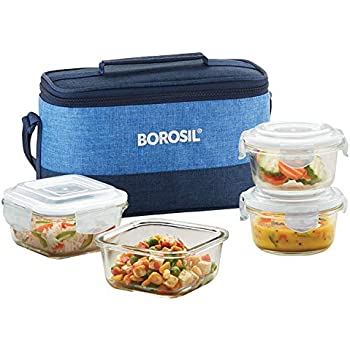 Borosil Prime Universal Glass Lunch Box Set of 4, (320 ml Sq. + 240 ml Round) Microwave Safe Office Tiffin