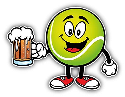 Tennis Ball Face Mascot Beer Auto-Dekor-Vinylaufkleber 12 X 10 cm