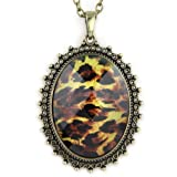 Leopard Gem - Crystal Cut Faceted Graphic Inlay - Oval Pendant - Black Brown & Yellow - Brass Necklace
