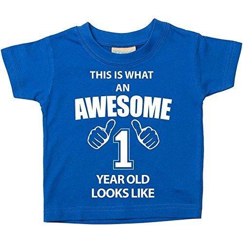 Das ist es, was eine Awesome 1Jahr aussieht, blau Tshirt 1. Geburtstag Baby Kleinkind Kinder erhältlich in den Größen 0-6Monaten bis 14-15Jahren Baby Schwester Geschenk - Blau, 18-24 Months (4 Kleinkind-t-shirt)
