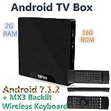 W95Android 7.1Amlogic s905W RAM DDR32G EMMC 16G Wifi 2.4G Ethernet Set-Top-Box + MX3Hintergrundbeleuchtung Wireless Tastatur