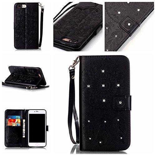 Custodia iPhone7, iPhone7 Case, Cozy Hut ® Custodia portafoglio / wallet / libro in pelle per iPhone7 - Cover elegante e di alta qualità con porta carte di credito e banconote Stampa creativa Chiusura nero