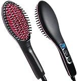 #10: VelVeeta New Impressive Simply Ceramic Brush Hair Straightener, Black/Pink