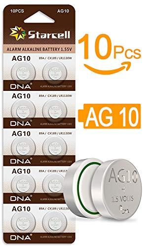 Act 10 x Alkaline knoopcellen zonder kwik AG10/LR54/lr1131/389 (1,5 Volt, 10er Pack)
