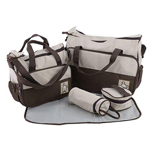 Preisvergleich Produktbild OUTAD 5tlg Babytasche Set, Auflage Windel Windel ändernde Tote Handtasche, Multifunktions Mama Baby Beutel Flaschen Halter, Kaffee Farbe