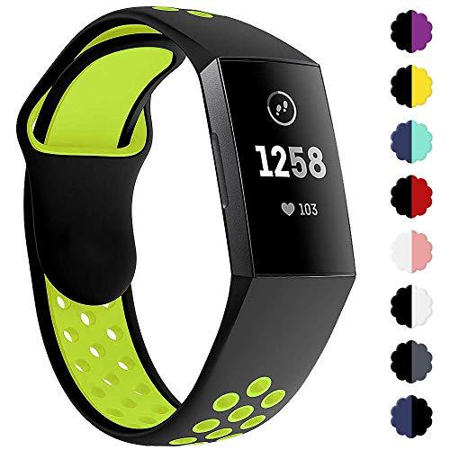 KIMILAR Armbänder Kompatibel mit Fitbit Charge 3 Armband, Zweifarbigen Silikon Ersatz-Armbänder Verstellbare Sport Bracelet Band Wristband für Fitbit Charge 3 & Special Edition Fitness-Tracker
