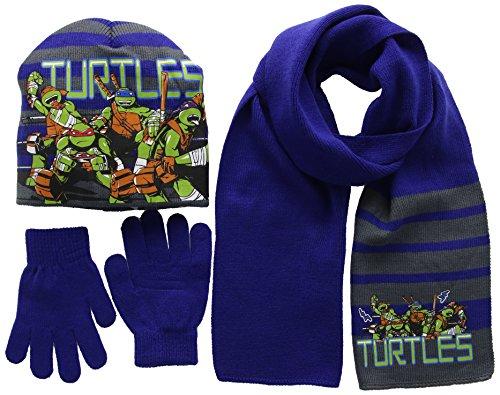 Nickelodeon Jungen Mütze/Handschuhe/Schal Ninja Turtles Fight, Blau-Blau, X-Small
