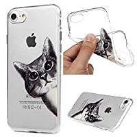 iPhone 7 Case, iPhone 8 Case MAXFE.CO Soft TPU Gel Cover Flexible Case Transparent Clear Shock-Absorption Protective Rubber Shell Ultra-Thin Silicone Case for iPhone 7/ 8 - Gray Cat