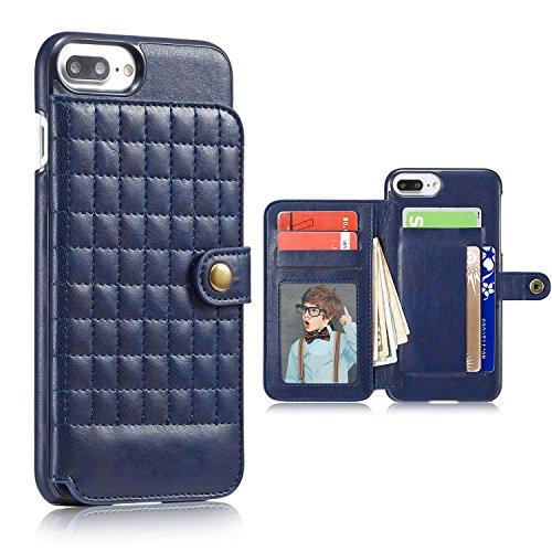 Cover per iPhone 6 Plus, Cover per iPhone 6S Plus Pelle, Bonice Custodia Ultra Sottile con Portabiglietti Posteriore Portafoglio in Autentica Pelle Case Cover per iPhone 6 Plus/6S Plus (5.5 pollici) + Griglia - Cover - 02