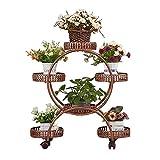 Support à Fleurs en Fer avec Roue, Support pour 6 Pots de Fleurs, présentoir pour présentoirs à Fleurs Multiples
