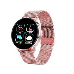 RanGuo Smartwatch für Herren Damen Kinder, Wasserdicht Sports Bluetooth Intelligente Armbanduhr Fitness Armband für Android und ios System, Support-Anruferinnerung und Nachrichtenerinnerung (Rosa)