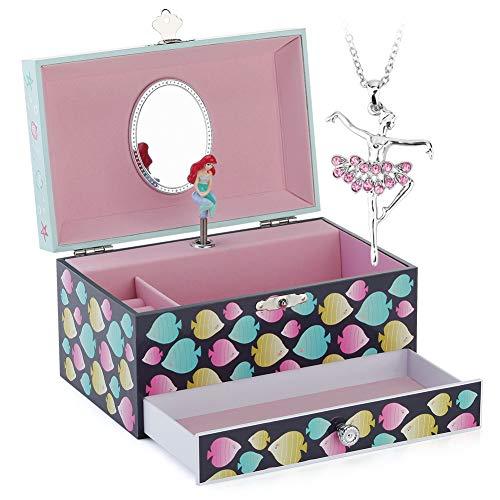 RPJC Kinder Musik - Glocke Schmuckkästchen - Box Speichern mit Schublade und Ballett Halsketten mit Wunderbar Meerjungfrau Thema - Wunderschön Träumer Tune Blau