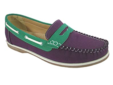 16670c9c763 Ladies Coolers Faux Nubuck Leather Loafer Slip-On Boat Deck Shoes  Purple-Green UK4