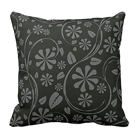Fleur Feuille Imprimé Noir et gris Motif floral Couvre-lit Taie d