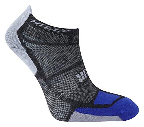 Hilly Men's Twin Skin Socklet Running Socks - Black/Electric Blue/Grey, Large
