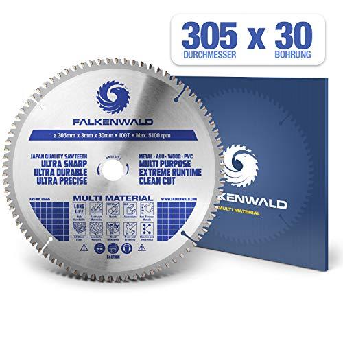 FALKENWALD ® Kreissägeblatt 305 x 30 mm - Ideal für Holz, Metall & Alu - Kappsägeblatt kompatibel mit Gehrungssäge & Tischkreissäge von Bosch & Metabo - Universal Sägeblatt aus hochwertigem Hartmetall