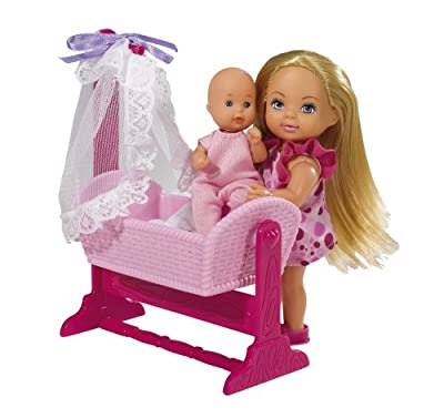 Simba 105736242 Evi Love - Muñeca Evi, bebé, cuna y accesorios por Simba Toys