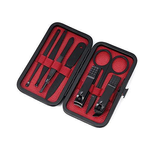 MOTIKO 7 Pcs Haute Qualité Kit de Manucure en Acier Inoxydable Pédicure Kit de Toilettage Ongles Coupe-Ongles Coupe avec Étui de Transport-Black + Red