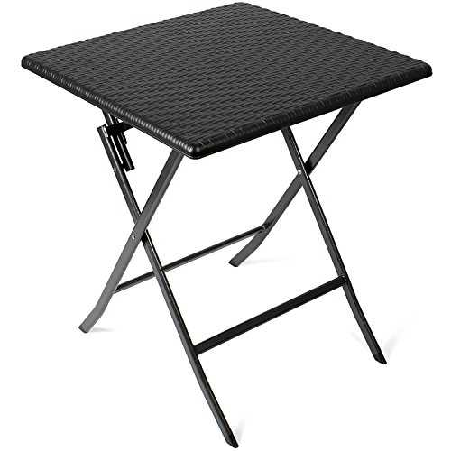 Vanage - Table d'appoint - Table de Jardin carrée en Rotin synthétique - Structure en acier - Pliable et ultra compacte - Parfait pour Jardin, Terrasse et Balcon
