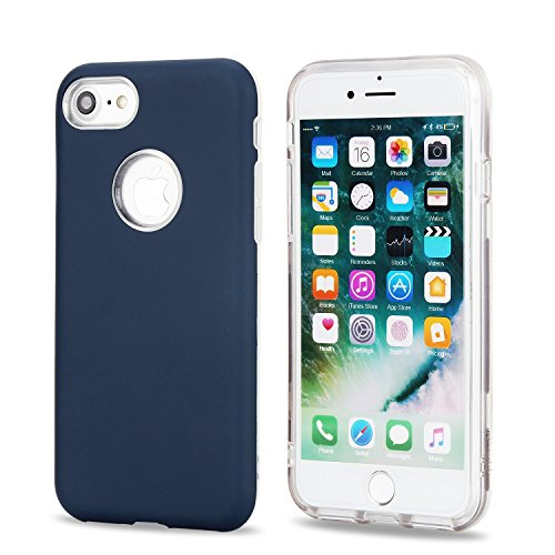 GR Ultradünnes Slim Case für iPhone 7, Dual Layer PC + TPU Hybrid Gehäusedeckel 360 ° Ganzkörper-Schutz Shock Absorbtion Case ( Color : Gray ) Deep blue