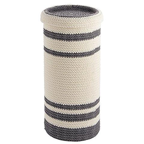 InterDesign Ellis Knitted 3 Roll Free Standing Toilet Tissue Paper Holder Reserve, Gray/Ivory