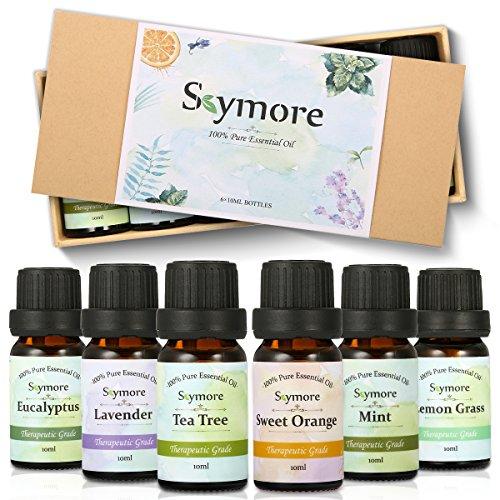 Skymore Naturreine Ätherische Öle Set,100% Pure Aroma Öle, Duftöle Set Für Diffuser (Zitronengras, Lavendel, Teebaum, Eukalyptus, Orange, Minze), Perfekt für Geschenk