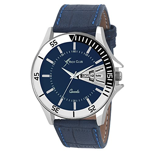 Rich Club RC-1555 Blue Dial And Leather Strap Day And Date Analog Watch For Men And Boys