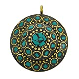 Nuovo splendido ciondolo a Banithani Mosaico di piastrelle Indian Fashion Jewellery Gift For Her, Ottone, colore: Blue-3, cod. SP5198A