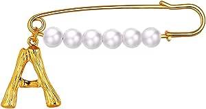 FOCALOOK Donna Spilla Perla Lettera Iniziale bambù A-Z Nome Alfabeto, Spilla Grande Vintage, Placcato Oro 18K, con Confezione, Regalo Compleanno Anniversario per Ragazza Moglie Fidanzata (Oro)
